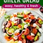 Greek salad in a speckled serving bowl
