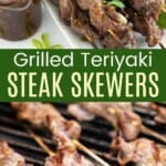 teriyaki steak skewers on a serving plate and some on the grill