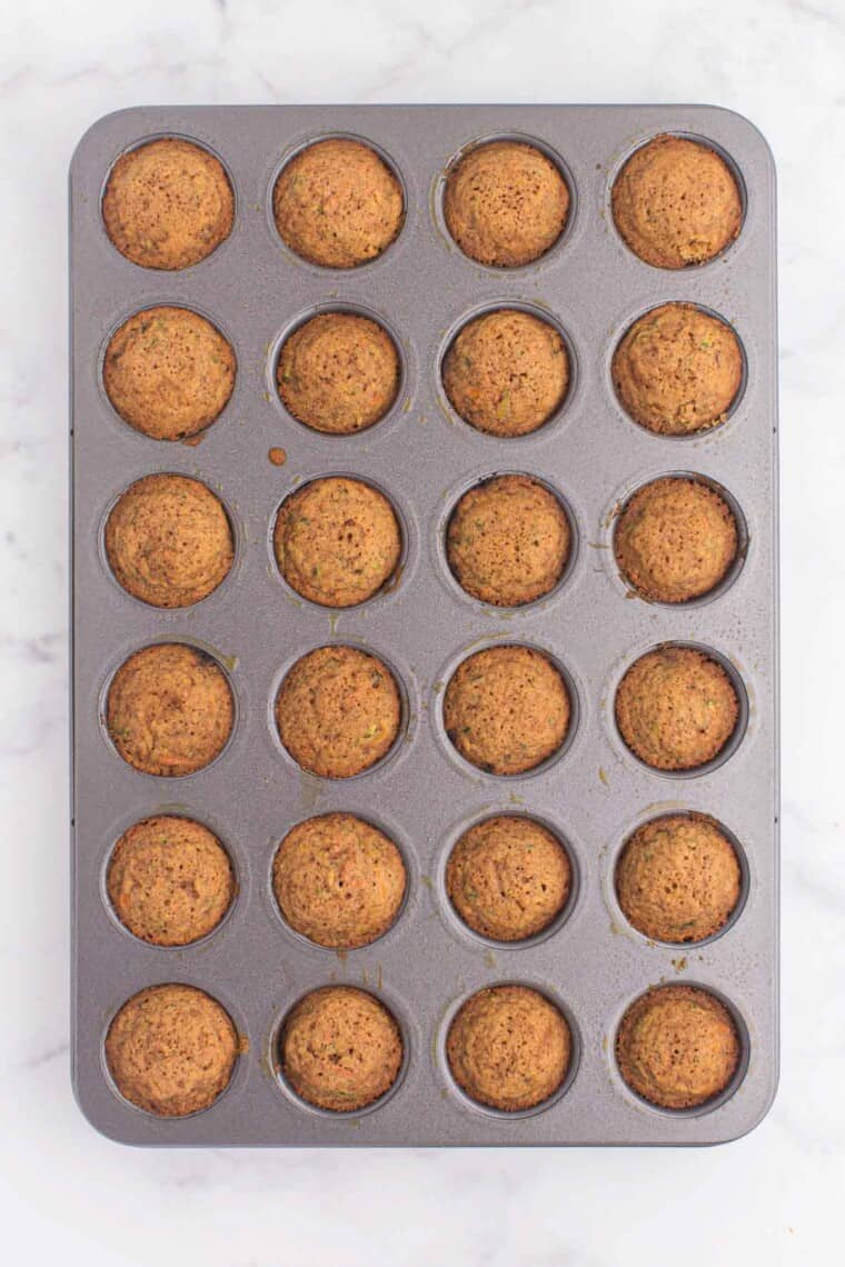 baked muffins in the mini muffin pan