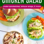 a bowl of bbq chicken salad with a sandwich on a plate and lettuce wraps on another plate