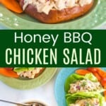 a barbecue chicken salad sandwich on a pretzel roll, plus chicken salt in a bowl and in lettuce wraps on a plate
