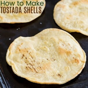 baking pan with tostada shells
