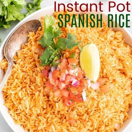 bowl of spanish rice topped with pico de gallo and cilantro