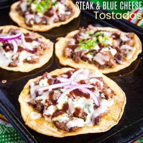 steak and blue cheese tostadas on a baking sheet