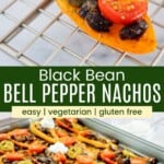 half of a mini bell pepper filled with black beans, tomato, jalapeno, cheese, and sour cream and a ful sheet pan of bell pepper nachos