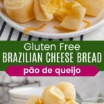 brazilia cheese bread muffins on a plate with one broken in half, and more in a bowl