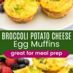 three potato broccoli cheese egg muffins on a plate and another plate with one cut in half