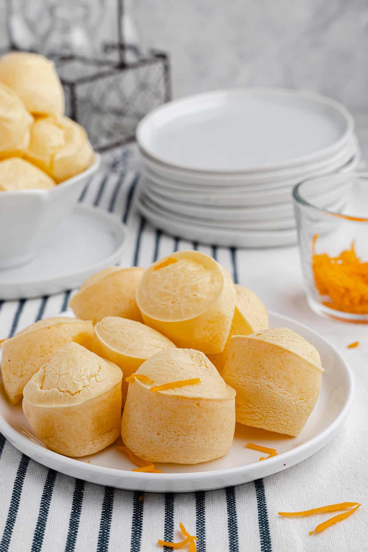 plate of brazilian cheese bread muffins