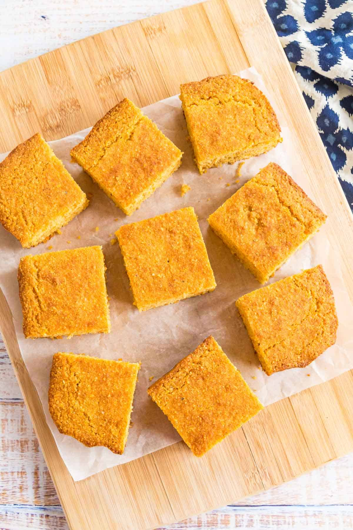 overhead of slices of cornbread on a piece of parchment paper