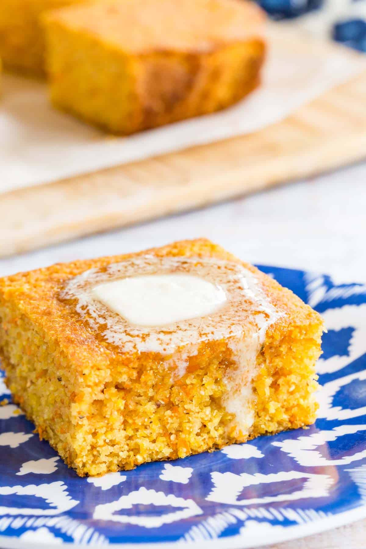 slice of cornbread with butter melting on top
