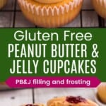 peanut butter and jelly cupcakes on a cooling rack and one cut in half on a plate to see the peanut butter and jelly filling