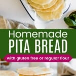 pitas in a parchment-lined serving bowl and seven more stacked on a cooling rack