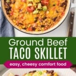 fnishes ground beef taco skillet topped with melted cheese, sour cream, and scallions, and a serving in a bowl
