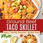 Taco Skillet in a pan with a scoop missing and spoon in the pan, and servings in two bowls with two forks surrounded by garnishes