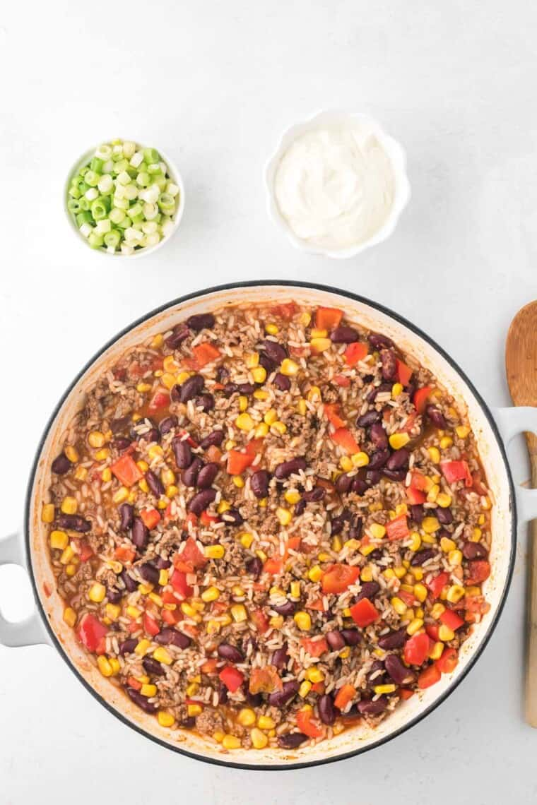 cooked ground beef and rice skillet before adding the cheese