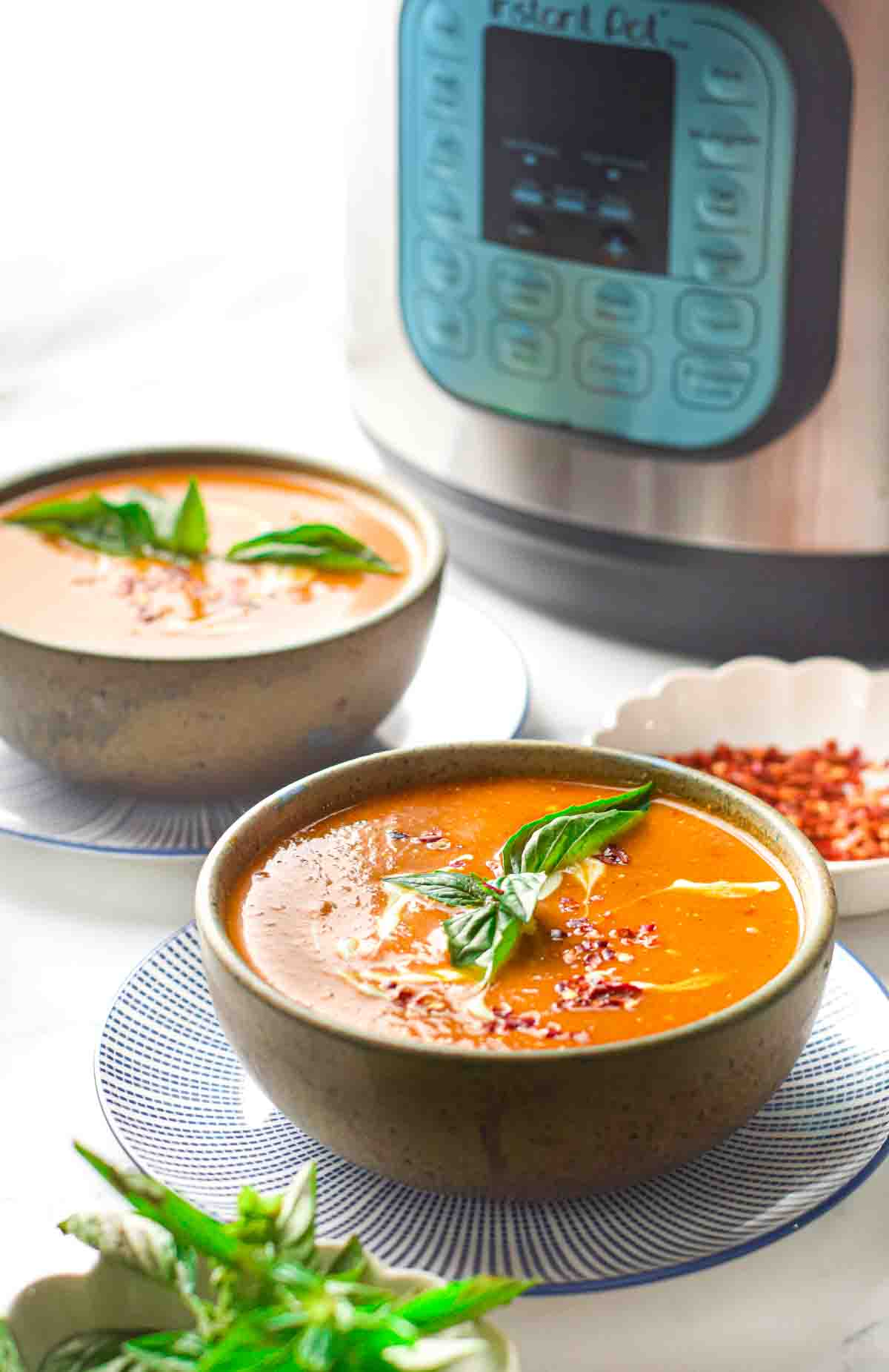 two bowls of creamy tomato soup on saucers in front of an instant pot