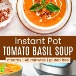looking down at a bowl of tomato soup garnished with basil, a drizzle of cream, and red pepper flakes, and a bowl in front of an instant pot