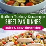 sausage sheet pan dinner on a baking sheet ad in a bowl with the potatoes, zucchini, and tomatoes