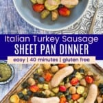 sausage, potatoes, zucchini, and tomatoes topped with pesto in a bowl and all spread out on a sheet pan
