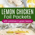 chicken with green beans and potatoes on a plate and a fork holding a bite in front of the foil packet meal