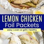 chicken, green beans, and sliced potatoes in a foil packet and on a plate with a fork and knife