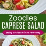 zoodle caprese salad in a serving bowl, and being served with wooden tongs