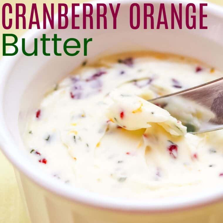butter knife in a dish of cranberry orange butter