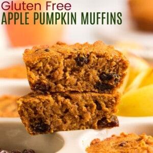 apple pumpkin muffin with raisins cut in half to see the interior