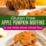 apple pumpkin muffin with raisins cut in half plus two on a plate with one cut in half and buttered