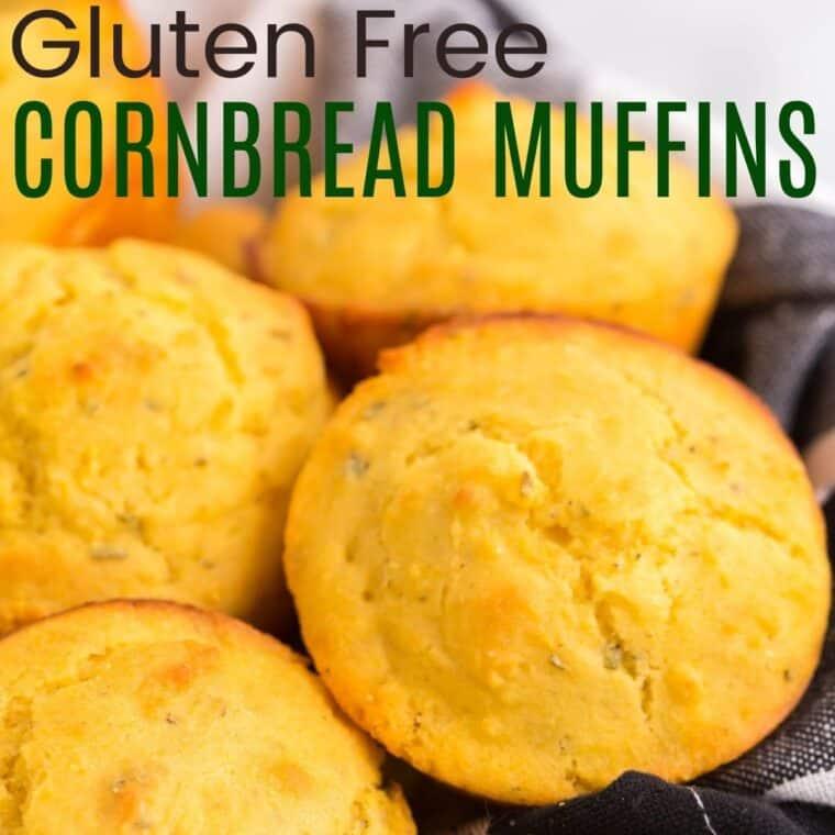 gluten free cornbread muffins in a black and white plaid napkin