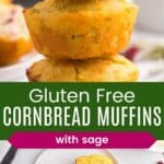a stack of three gluten free corn muffins and two one a plate with one cut in half and buttered