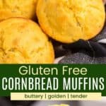 gluten free cornbread muffins in a black and white plaid napkin with one cut in half and being held up to see the interior