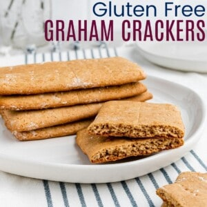 homemade graham crackers on a plate with one broken in half
