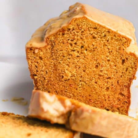 loaf of pumpkin bread cut into slices