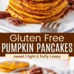 a stack of pumpkin pancakes on a plate topped with butter, chopped pecans, and maple syrup, and a plate that has a bite of the pancakes on a fork
