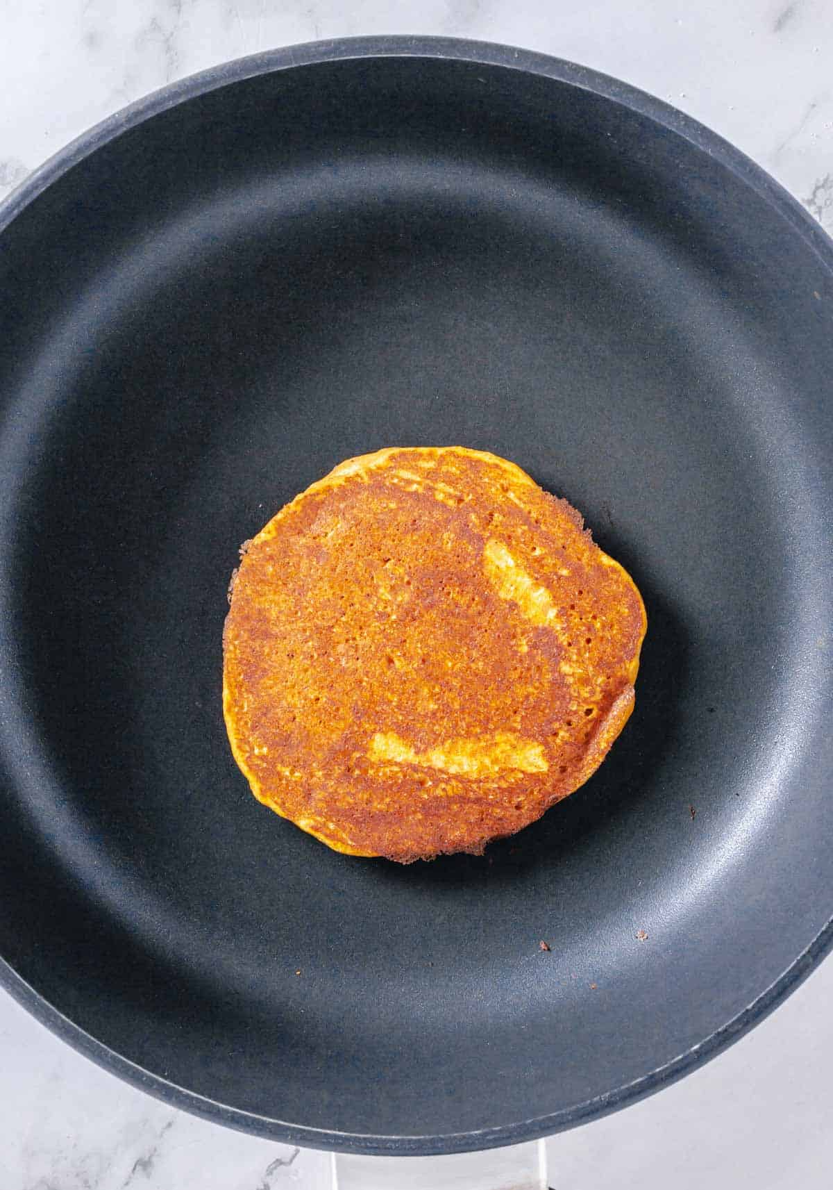 cooked pancake in a skillet