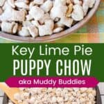 key lime pie puppy chow in a pie pan and on a baking sheet to cool