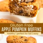 apple pumpkin muffin cut in half and buttered and a stack of muffins on a plate