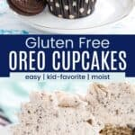 cookies and cream cupcake on a white plate with two gluten free oreos and a cupcake that has been cut in half to see the cookie pieces inside