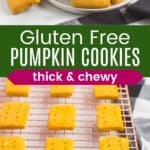 a plate full of rectangular gluten free pumpkin cookies and more on a cooling rack